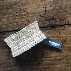 Gold elastic cuff bracelet